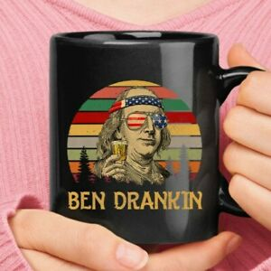 Personalized Ben Drankin Independence Day 4th Of July Black Coffee Mug 2 Sizes