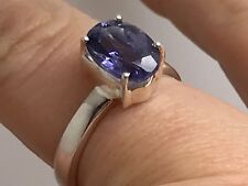 Solid Sterling Silver Iolite oval cut solitaire ring UK size Q 1/2, new. UK.