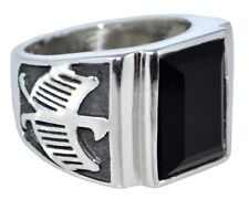 Sterling SILVER Black Onyx Mens Ring,Antique style,Emerald Cut Gem,Sizes O to Z5