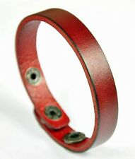 Unisex Simply Cool Single Band Surfer Genuine Leather Bracelet Wristband RED