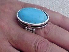 SILVER TONE & TURQUOISE RESIN ADJUSTABLE 3.5cm.x 2.5cm. STATEMENT RING £6.95 NWT