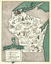 1930s Animated WISCONSIN Picture Map RARE Map of Wisconsin State Map BLU 6898