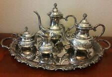 RARE Large 5 Piece Eugen Ferner 1966 Silver Plate Tea Set Rose Pot Sugar Tray : silver plated tea sets - pezcame.com