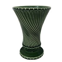 "Vintage McCoy Pottery Green Vase Swirl Design Footed Round 8"" Tall Made in USA"