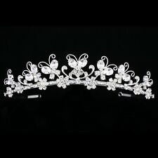 Bridal Butterfly Rhinestones Crystal Prom Wedding Crown Tiara 7873