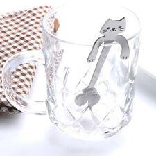 1PC Stainless Steel Silver Cute Cat Hanging Cups Coffee Tea Drink Spoon Teaspoon