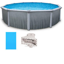 """Martinique 21' Round 52"""" Deep Above Ground Pool w/ Solid Blue Overlap Liner"""