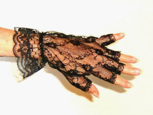 Gloves Fingerless Lace Wrist Ruffle Steampunk Retro Black Leg Avenue G1205