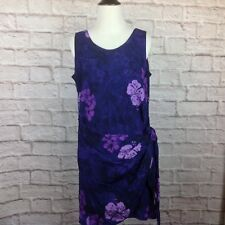 Young Fashion Dress Women Small Faux Wrap Hawaiian Purple Floral A Line