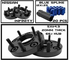 5x114.3 Hub Centric Wheel Spacers 20mm Thick + 20 Blue Spline 12x1.25 Lug Nuts