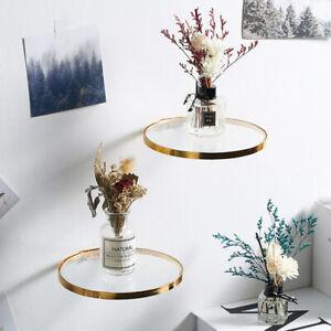 Nordic Circular Wall Hanging Metal Glass Storage Shelf Shelves Wall Rack Craft