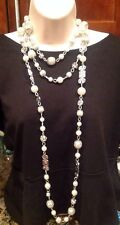 Vintage Look White House Black Market Faux Pearl Crystal Strand Necklace-$78-NEW