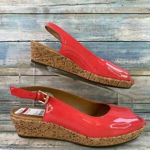 Clarks Artisan Orlena Currant Slingback Sandal Shoe Pink Peep Toe Wedge Heel 6.5