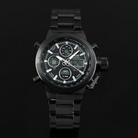 Mens Watch Quartz Digital Black Face Stainless Steel Band Analog Luminous Sport