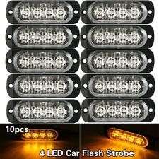 10X Amber 4 LED Bar Hazard Strobe Warning Car Flash Truck Emergency Beacon Light