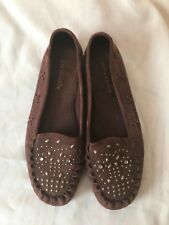 New Women's Brown Suede Aerosoles Moccasins with Studded Design Size US 9 EU 7