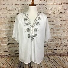 KALYPSO 7 PEASANT TOP EMBROIDERED BOHO TRIBAL SIZE LARGE
