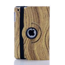 360 Degree Rotation Wood Finish Leather Case Cover For Apple iPad Mini( Wood )