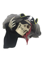 FOR PARTS 2005 Gemmy Halloween Animated Pirate Talking Skull Partly Working READ