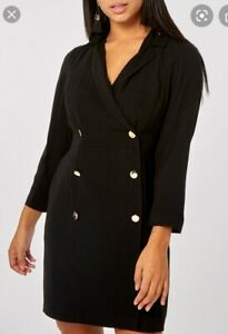Dorothy Perkins Black Double Breasted Tuxedo Dress Womens Size 10 Bnwt