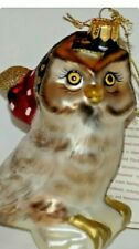 New ListingFitz and Floyd Classics Christmas Glass Ornament Owl Wearing Santa Hat Large