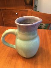 Handmade Pottery Pitcher Jug Holder Blue Teal Turquoise Handle Small