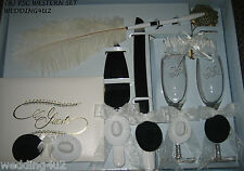 Wedding Party ~8 Piece Set~ Western Cowboy Hats  Guest Book Glasses Knife Garter