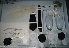 Wedding Party ~8 Piece Set~ Western Cowboy Hats  Guest Book Glasses Knife Garter