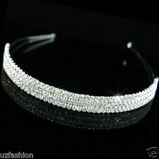 3 ROW AUSTRAIN RHINESTONES DIAMANTE HEADBAND TIARA @UK
