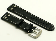 22mm Black Double Rivet Style Croco Embossed Leather Contrast Stitch Watch Band