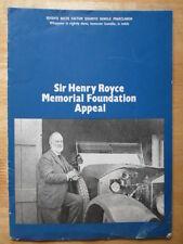 ROLLS ROYCE Hunt House Memorial Foundation Appeal brochure c1977 inc letters