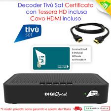 Decoder Tv Sat HD CERTIFICATO Tivusat Con Scheda Inclusa da Attivare Cavo HDMI
