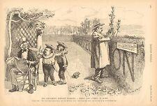 Political Cartoon, Uncle Sam, Tariff, Free Trade, Protection, 1888 Antique Print