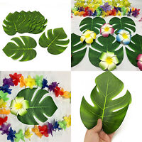 6/12Pcs Polyester Green Palm Tropical Leaves Luau Table Party Jungle Decoration
