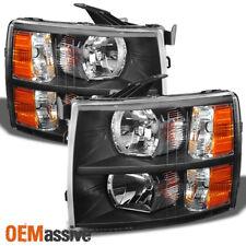 Fit 07-14 Silverado Black Headlights Headlight Lamp Set Aftermarket 2007-2014