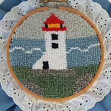 Cheticamp Hand Hooked Lighthouse Wall Hanging Folk Art Fabric Ruffle Nova Scotia