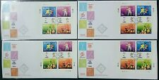 Malaysia 1997 Sports Commonwealth Games All 4 Corners Stamps on 4 FDC (Sp Lot B)