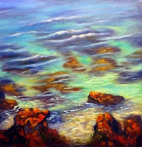 Original oil landscape painting of tropical reef