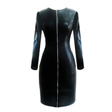 Sexy Adult's Costume Faux Leather Front Zipper Pencil Black Long Sleeve Dress