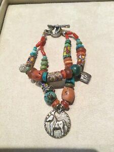 Jes Maharry Zephyr 925 Silver Turquoise Coral Bracelet