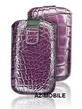 Case Push Pouch Cover Case S Leather Skin Croco Purple Apple Iphone 4/4S