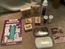 Lot of Psx Rubber Stamps - Embossing Powder- Note Cards- Stamp Pads
