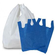 More details for plastic vest carrier bags blue or white *all sizes* - supermarkets stalls shops