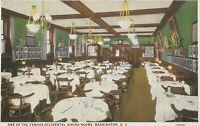 District of Columbia DC Washington Occidental Hotel Dining Vintage Postcard