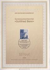 TIMBRE FDC ALLEMAGNE BERLIN OBL ERSTTAGSBLATT GOTTFRIED BENN 1986
