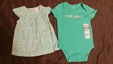 CARTERS 12 Month Baby Girl Bodysuit Dress Aqua Turquoise Teal FABULOUS NWT