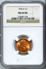 1945-D 1C Lincoln Wheat Cent MS-66 Red NGC 3768087-058 Certified + Bonus