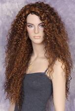 "30"" Long Spiral Curly HEAT SAFE Wavy Full Wig Brown Auburn Mix JSQU 4-27-30 NWT"