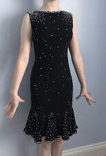 Vestido de Baile Latino Talla 4 6 12-15 años Aprox Negro Pedrería Rumba Salsa