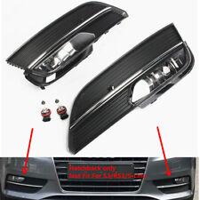 Fit For AUDI A3 8V Sportback Bumper Halogen Fog Lamps & Chrome Trim Grills Set